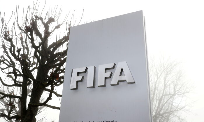 FIFA's logo is seen in front of its headquarters in Zurich, Switzerland Nov. 18, 2020. (Arnd Wiegmann/Reuters)