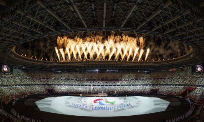 Fireworks are set off during the Paralympic Opening Ceremony over the Olympic Stadium for the Tokyo 2020 Paralympic Games in Tokyo, Japan, on Aug. 24, 2021. (Bob Martin for OIS/via AP)