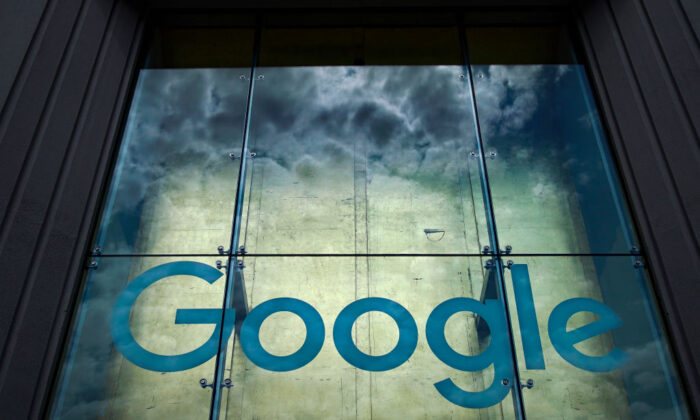 The Google logo adorns the outside of their NYC office Google Building 8510 at 85 10th Ave on June 3, 2019 in New York City. (Drew Angerer/Getty Images)
