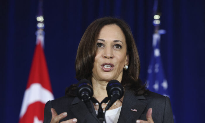 U.S. Vice President Kamala Harris delivers a speech at Gardens by the Bay in Singapore on Aug. 24, 2021. (Evelyn Hockstein/POOL/AFP via Getty Images)