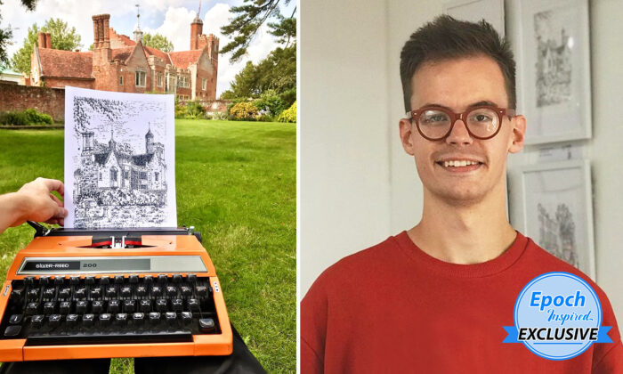 James Cook, 24, of Braintree in Essex, England, has produced over 110 pieces of art work on his collection of 30 typewriters. (Courtesy of James Cook Artwork)
