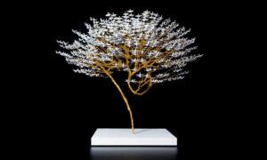 Japanese Artist Turns Thousands of Miniature Origami Cranes Into Symbolic Bonsai Trees