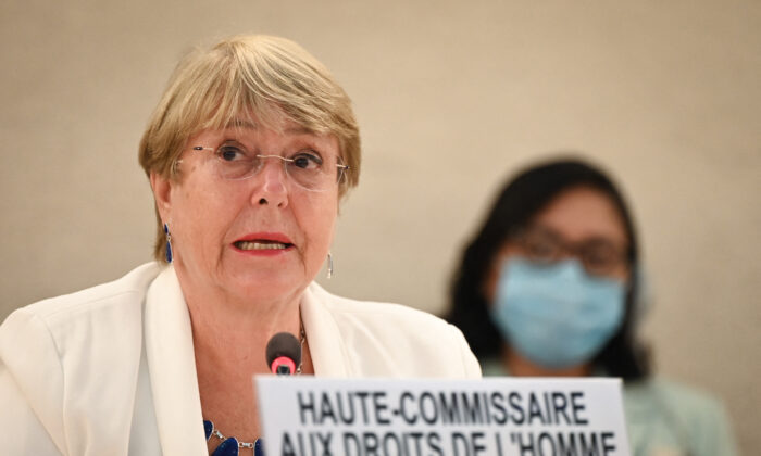 United Nations High Commissioner for Human Rights Michelle Bachelet delivers a speech at the opening of a special session of the UN Human Rights Council on Afghanistan in Geneva on Aug. 24, 2021. (Fabrice Coffrini/AFP via Getty Images)