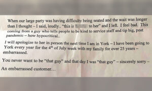 'I Was Very Rude': Man Sends Apology Note and $100 Tip to Restaurant Staff for His Behavior