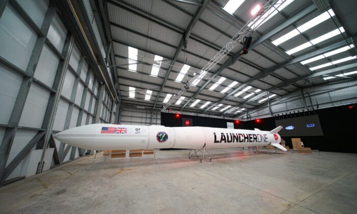 The Virgin Orbit Launcher One rocket is displayed at Spaceport Cornwall in Newquay, England, on Aug 2, 2021. (Hugh Hastings/Getty Images)