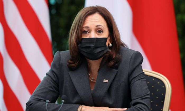 Vice President Kamala Harris attends a roundtable at Gardens by the Bay in Singapore before departing for Vietnam on the second leg of her Asia trip on Aug. 24, 2021. (Evelyn Hockstein/Pool via Reuters)