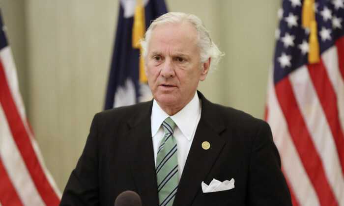 South Carolina Gov. Henry McMaster talks at a press conference in Columbia, S.C., on Aug. 9, 2021. (Jeffrey Collins/AP Photo)