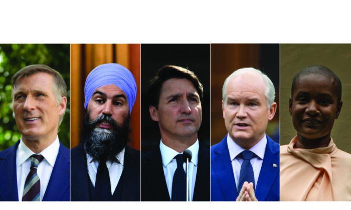 (L-R) Maxime Bernier, Jagmeet Singh, Justin Trudeau, Erin O'Toole, Annamie Paul. (The Canadian Press/ Epoch Times Edit)