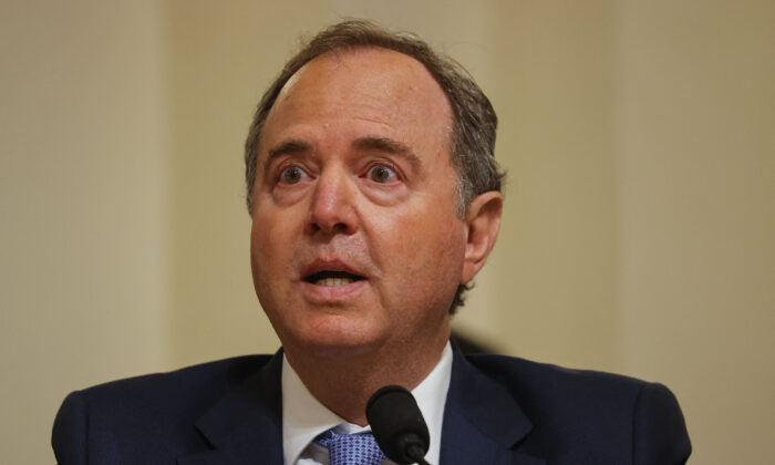 Rep. Adam Schiff (D-Calif.) is seen in Washington on July 27, 2021. (Jim Bourg/Pool/AFP via Getty Images)