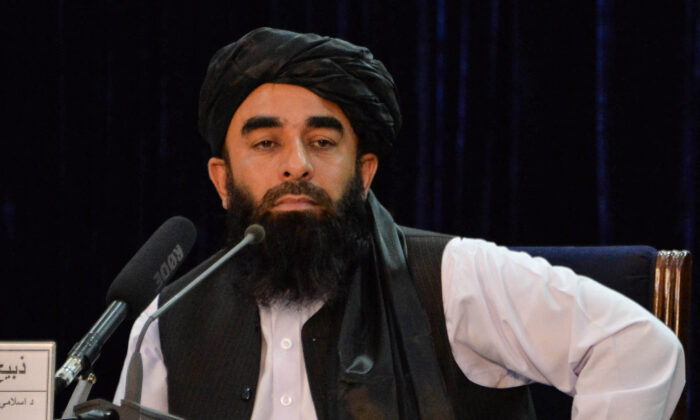 Taliban spokesperson Zabihullah Mujahid looks on during a press conference in Kabul, Afghanistan on Aug. 24, 2021. (Hoshang Hashimi/AFP via Getty Images)
