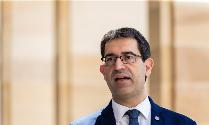 West Australian Liberal MP Nick Goiran speaks to the media during a press conference outside the Parliament of Western Australia in Perth, Australia, on Nov. 24, 2020. (AAP Image/Richard Wainwright)