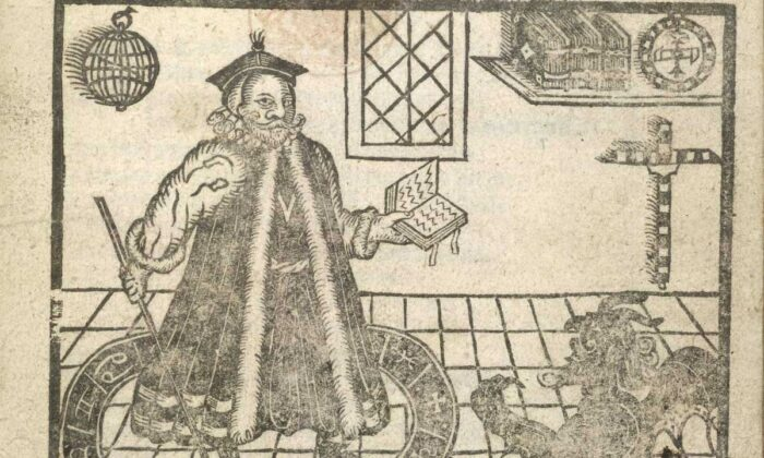 """A woodcut illustration of Doctor Faustus and a devil from title page of a 1620 edition of Christopher Marlowe's """"The Tragical History of Doctor Faustus."""" (Public Domain)"""