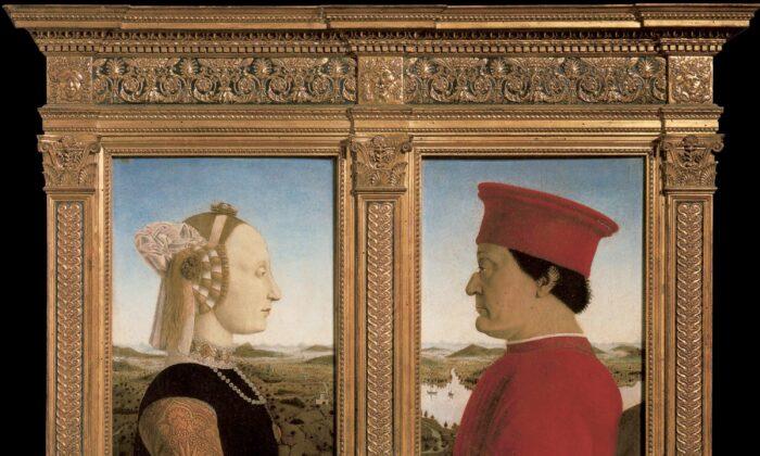 Portrait of Battista Sforza and Federico da Montefeltro, circa 1473–1475, by Piero della Francesca. Oil on wood; 19 inches by 13 inches per panel. Uffizi Gallery. (Public Domain)