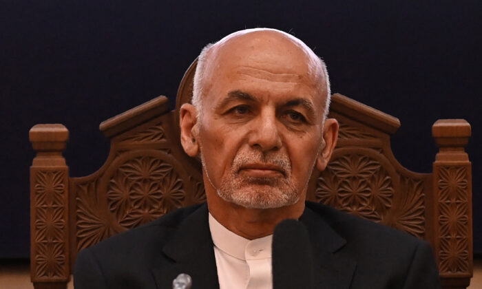 Afghanistan's President Ashraf Ghani looks on while attending a Joint Coordination and Monitoring Board meeting (JCMB) at the Afghan presidential palace in Kabul on July 28, 2021. (Sajjad Hussain/AFP via Getty Images)