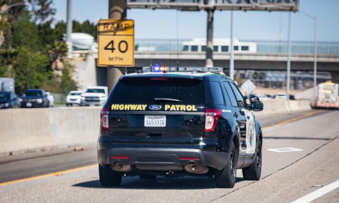 A California Highway Patrol vehicle in Santa Ana, Calif., on March 25, 2021. (John Fredricks/The Epoch Times)