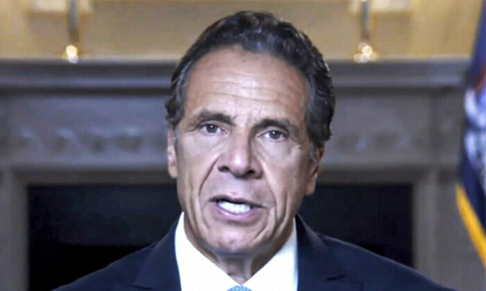New York Governor Andrew Cuomo gives a farewell speech via online video in New York on Aug. 23, 2021. (New York Governor's Office via AP)