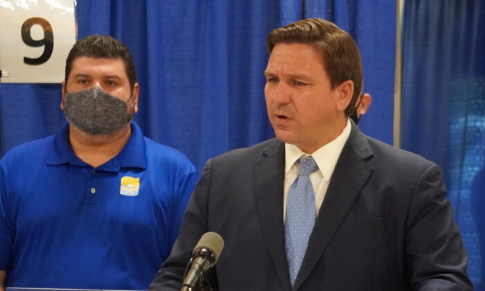 Florida Governor Ron DeSantis speaks to reporters during a press conference opening up an infusion site in Charlotte County, Fla. (Jann Falkenstern)