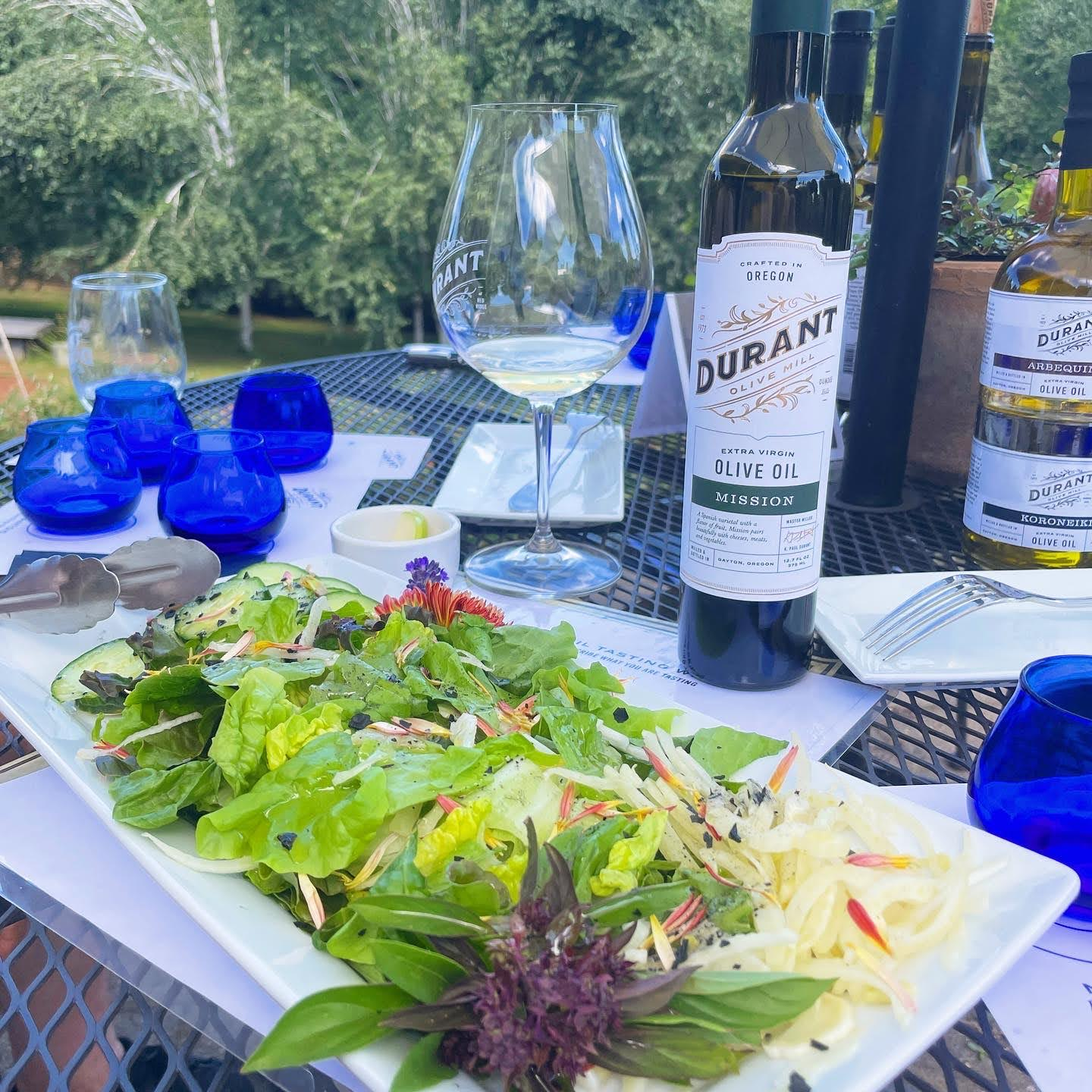 Salads dressed with olive oil grown onsite and served at the family-run Durant Estate in Oregon's Willamette Valley. (Courtesy of Durant Estate)