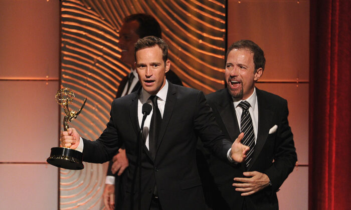 """Producer Mike Richards accepts the Outstanding Game/Audience Participation Show award for """"The Price is Right"""" onstage during the 40th Annual Daytime Emmy Awards at The Beverly Hilton Hotel in Beverly Hills, Calif. on June 16, 2013. (Kevin Winter/Getty Images)"""