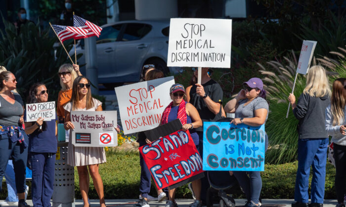 Medical personnel protest mandatory vaccines in Orange, Calif., on Aug. 9, 2021. (John Fredricks/The Epoch Times)