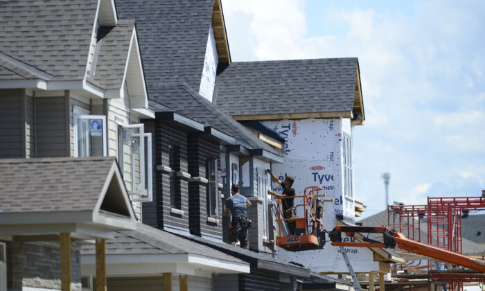 A new home is being built in a housing development in Ottawa on July 14, 2020. A key item during the election campaign is dealing with a crisis of unaffordable housing. (The Canadian Press/Sean Kilpatrick)