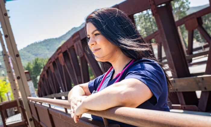 Nurse Joei in Temecula, Calif., on May 8, 2021. (John Fredricks/The Epoch Times)