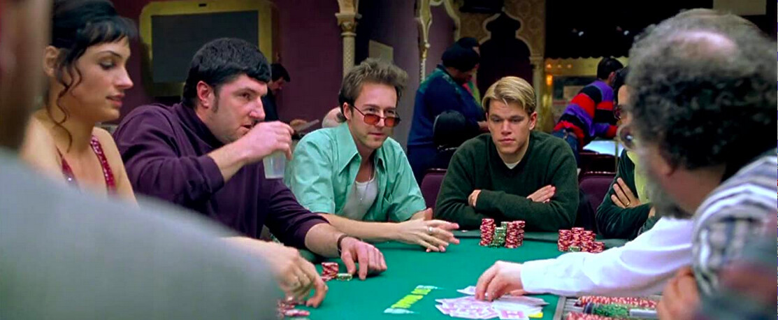 card players at a table in ROUNDERS