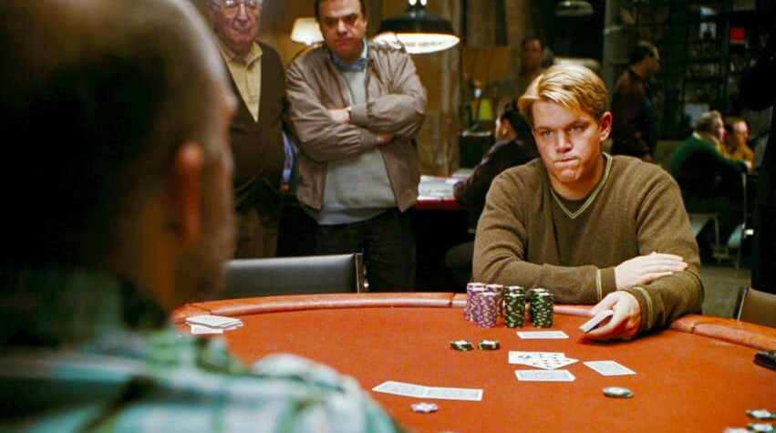 two men play poker in ROUNDERS