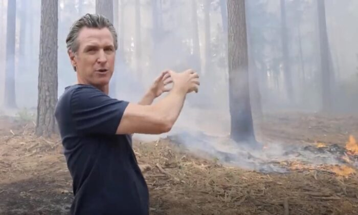 California Gov. Gavin Newsom gestures toward the Caldor fire in a video released by his office on Aug. 24, 2021. (Office of the Governor/Screenshot via The Epoch Times)