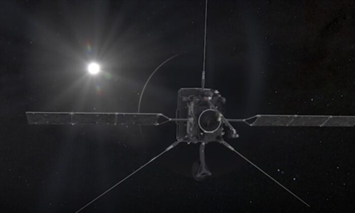In this screenshot from video, Venus approaches from the left. The planet's night-side, the part hidden from the Sun, appears as a dark semicircle surrounded by a bright crescent of light, on Aug. 9, 2021. (European Space Agency/ATA MEDILAB via AP/ Screenshot via NTD)