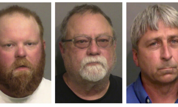 """From left, Travis McMichael, his father Gregory McMichael, and William """"Roddie"""" Bryan Jr..  (Glynn County Detention Center via AP)"""