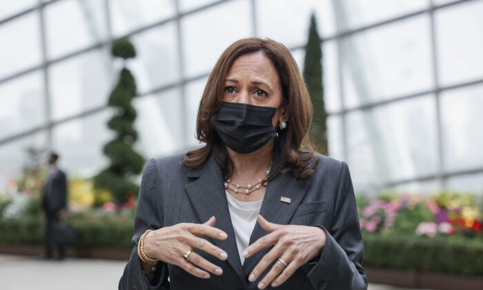 United States Vice President Kamala Harris takes questions from reporters as she visits the Flower Dome at Gardens by the Bay, following her foreign policy speech in Singapore, on Aug. 24, 2021. (Evelyn Hockstein/Pool Photo via AP)