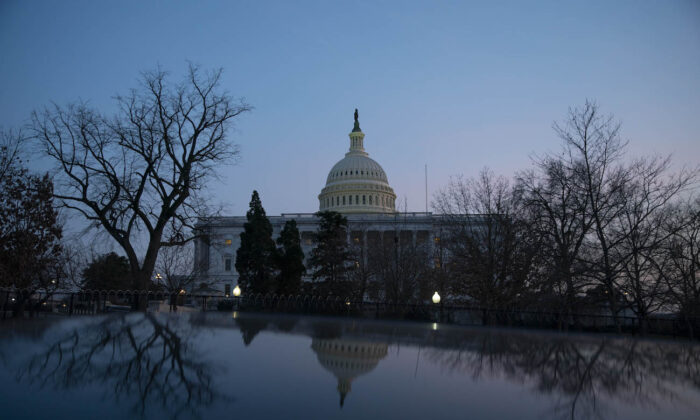 The U.S. Capitol building exterior is seen at sunset in Washington on March 8, 2021. (Sarah Silbiger/Getty Images)