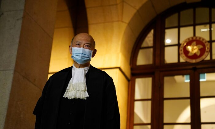 Hong Kong's outgoing Chief Justice Geoffrey Ma stands outside the Court of Final Appeal after his retirement ceremony in Hong Kong, China, on Jan. 6, 2021. (Lam/Reuters)