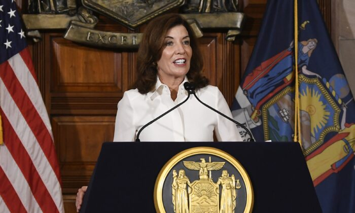 New York Gov. Kathy Hochul speaks to reporters after a ceremonial swearing-in ceremony at the state Capitol in Albany, N.Y., on Aug. 24, 2021. (Hans Pennink/AP Photo)