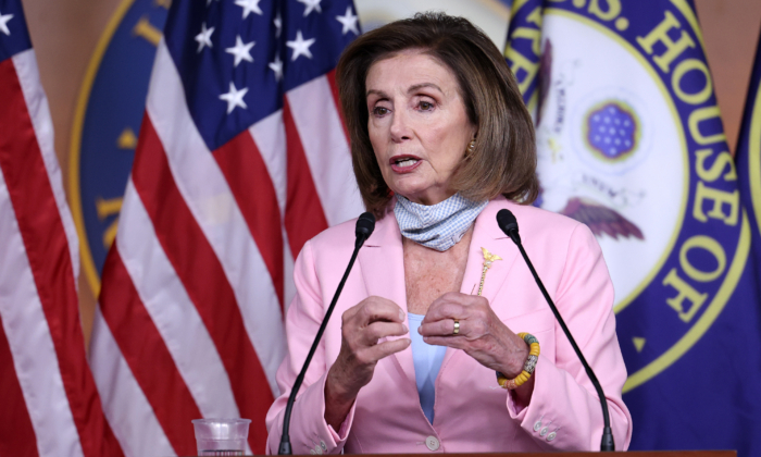 House Speaker Nancy Pelosi (D-Calif.) speaks to reporters in Washington on Aug. 25, 2021. (Kevin Dietsch/Getty Images)
