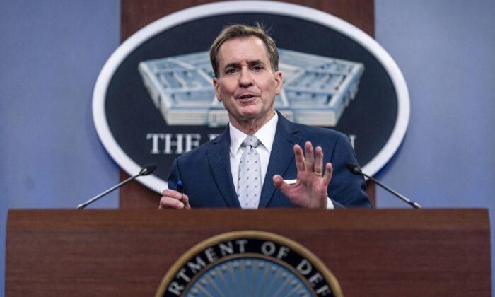 Pentagon spokesman John Kirby speaks during a briefing at the Pentagon in Washington on Aug. 25, 2021. (Andrew Harnik/AP Photo)