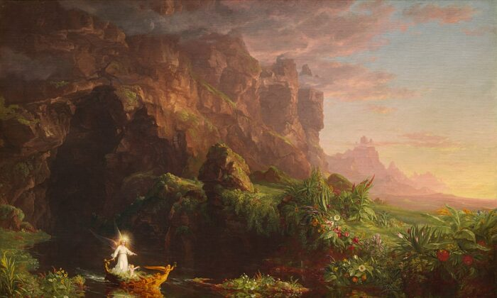 """""""The Voyage of Life: Childhood,"""" 1842, by Thomas Cole. Oil on canvas; 52.8 inches by 76.8 inches. National Gallery of Art, Washington. (Public Domain)"""