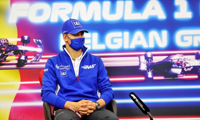 Mick Schumacher in the FIA Press Conference  on Aug. 26, 2021. (FIA/Handout via Reuters)