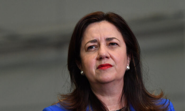 Queensland Premier Annastacia Palaszczuk is seen during a press conference at the  Brisbane Convention and Exhibition Centre in Brisbane, Australia, Aug. 11, 2021. (AAP Image/Darren England)