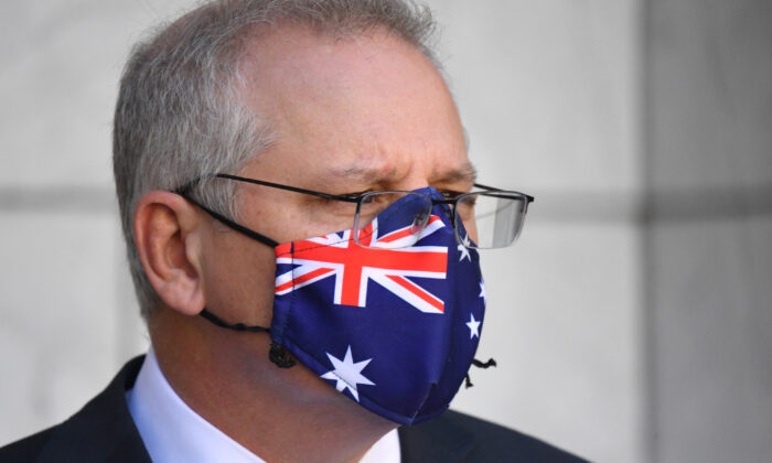 Prime Minister Scott Morrison at a press conference at Parliament House in Canberra, Australia, on Aug. 26, 2021. (Mick Tsikas/AAP Image)