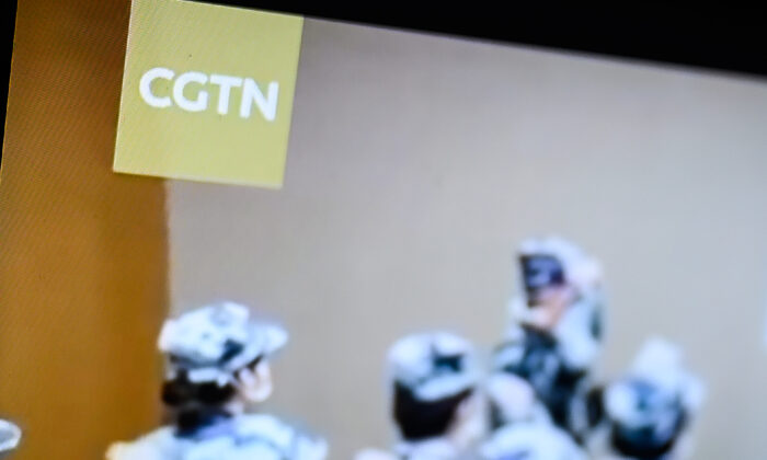 The logo of CGTN is displayed on a computer monitor in London, England, on Feb. 4, 2021. (Leon Neal/Getty Images)