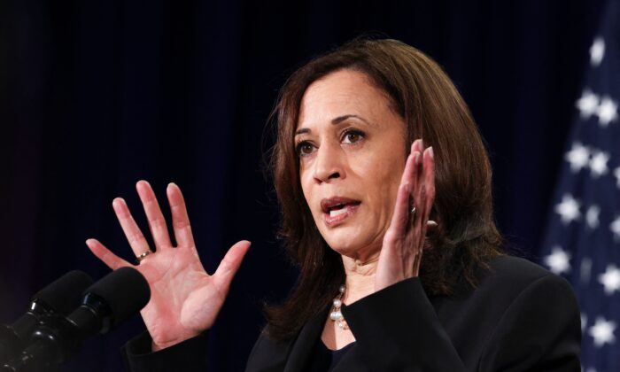 U.S. Vice President Kamala Harris holds a press conference before departing Vietnam for the United States, following her first official visit to Asia, in Hanoi, Vietnam, on Aug. 26, 2021. (Evelyn Hockstein/POOL/AFP via Getty Images)
