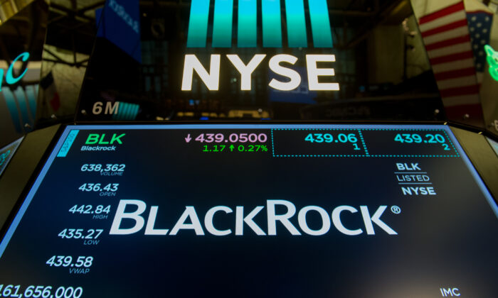 The trading symbol for BlackRock is displayed at the closing bell of the Dow Industrial Average at the New York Stock Exchange in New York on July 14, 2017.  (Bryan R. Smith/AFP via Getty Images)