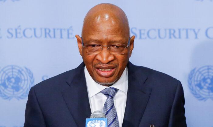 Soumeylou Boubeye Maiga, then prime minister of the Republic of Mali (L) speaks at U.N. headquarters in New York, U.S., March 29, 2019. (Eduardo Munoz/Reuters)