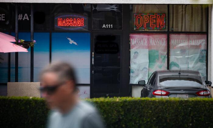 A massage parlor in Orange County on Aug. 3, 2021. (John Fredricks/The Epoch Times)