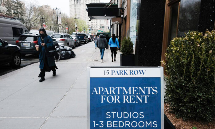 Apartments are advertised in lower Manhattan in New York City on April 16, 2021. (Spencer Platt/Getty Images)