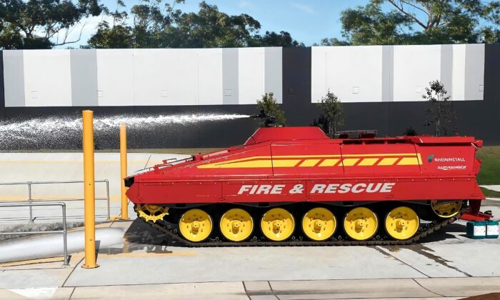 An autonomous firefighting tank is being developed by Rheinmetall Defence Australia. (Supplied)