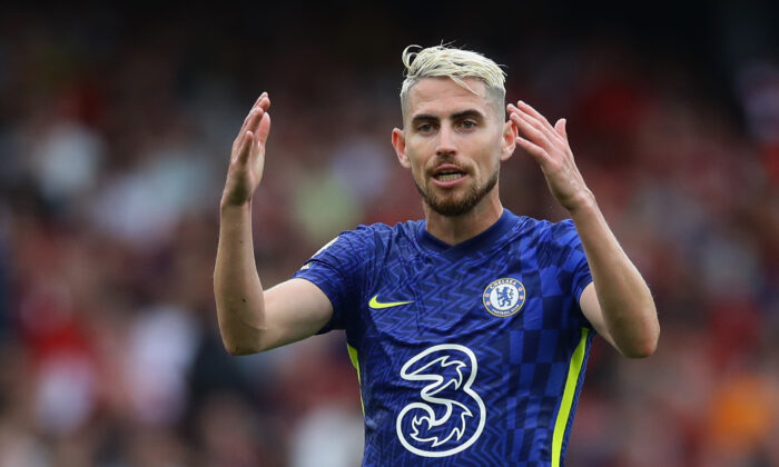 Chelsea's Jorginho reacts during the Premier League match between Arsenal and Chelsea at Emirates Stadium in London, England, on Aug. 22, 2021. (David Klein/Reuters)