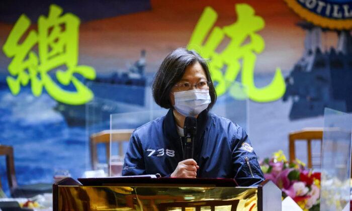 Taiwan's President Tsai Ing-wen gives a speech after visiting the Navy's 131st Fleet in Keelung, Taiwan, on March 8, 2021. (Ann Wang/Reuters)